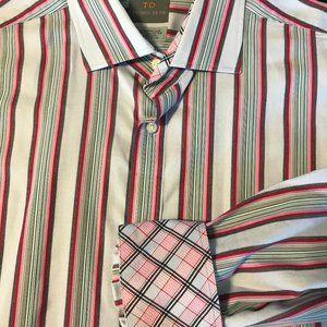 Thomas Dean Casual Long Sleeve Shirt Blue Red Pink